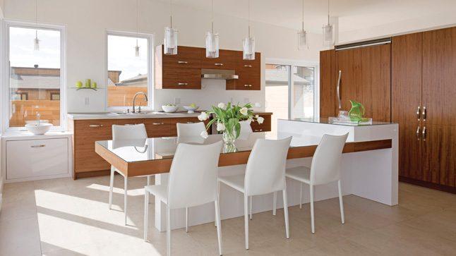 Claves para crear una cocina moderna for Cocina blanca y madera moderna