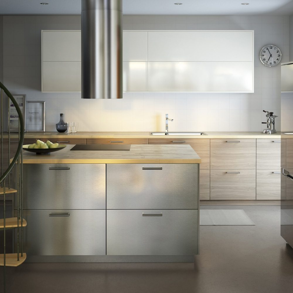 Galer a de im genes cocinas en acero inoxidable for Enchapes para cocinas integrales modernas